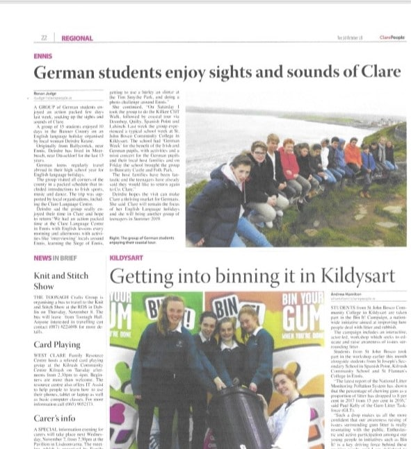 The Clare People - German students visiting Grafschaft Clare - Oktober 2018
